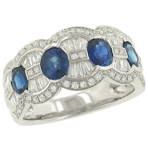 Oval Blue Sapphire (1.63ct) & Diamond(.76ct) Fluted Band