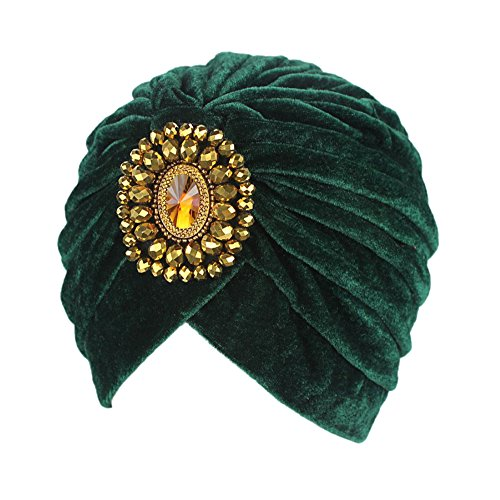 - Decou Twist Pleated Hair Wrap Stretch Turban 0545 ,Green,One size