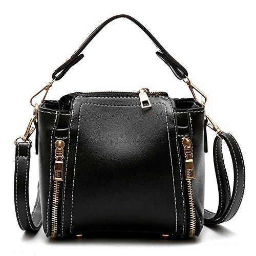 Gwqgz New All-match Fashion Handbags Single Mini Portable Single Bucket Bag Lady Bag Light Gray Black
