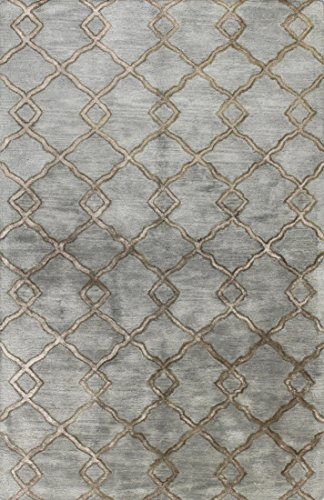 Slate Blue Rectangular Rug - Bashian GREENWICH HG265 Collection Hand Tufted Wool & Viscose Area Rug, 3.9' x 5.9', Slate