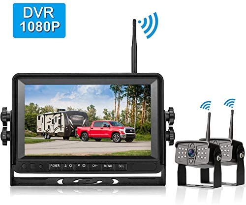 Amtifo FHD 1080P Digital Wireless 2 Backup Cameras With 7 DVR Monitor For Trailers,Trucks,RVs, High-Speed Observation System Support Split Quard Screen