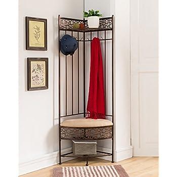 Kings Brand Furniture Brushed Copper Metal Corner Entryway Hallway Storage Bench with Coat Rack