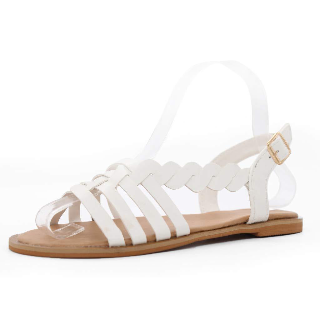SSYongxia Girls Women Stylish Comfortable Open Toe Single Adjustable Flatform Sandals Summer Boho Sandals Slippers White