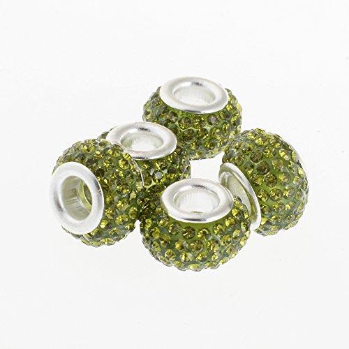 Olivine Rondelle Crystal (RUBYCA 11MM 5pcs Big Hole Crystal Charm Beads fit European Charm Bracelet Jewelry Olivine)
