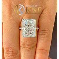 Huge Solid Sterling Silver .925 Radiant and Round Cut Simulated Diamond Engagement Ring Deco, Bridal, Wedding, Halo, Anniversary, 8.30ctw
