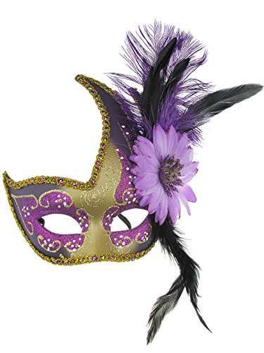 Masquerade Mask Halloween Costume Venetian Christmas Party Mask with Feather (Purple & Gold)]()