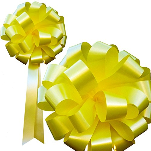 yellow-pull-bows-with-tails-8-wide-set-of-6-support-our-troops-ribbon