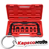 Biltek Valve Spring Compressor C Clamp Service Kit Auto Motorcycle ATV Small Engine New Heavy Duty 5 Sizes Valve Spring Compressor Pusher Tool Car & Motorcycle Repair + KapscoMoto Keychain