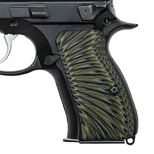 Cool Hand CZ 75 Compact G10 Grips, Sunburst Texture, Brand OD/BLK