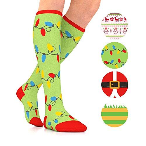 Go2Socks GO2 Holiday Compression Socks for Women Men Nurses Runners 15-20 mmHg (Medium) -Medical Stocking Maternity Travel-Best Performance Recovery Circulation Stamina (Christmas Lights, Medium)
