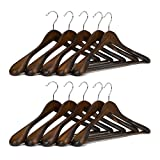 J.S. Hanger Piece 10 Gugertree Wooden Extra-Wide Shoulder Suit Coat Hangers Retro Finish