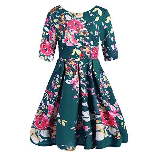 Green Plus Dress Round Size Neck ZHUOTOP Women's Floral qxUwgq04