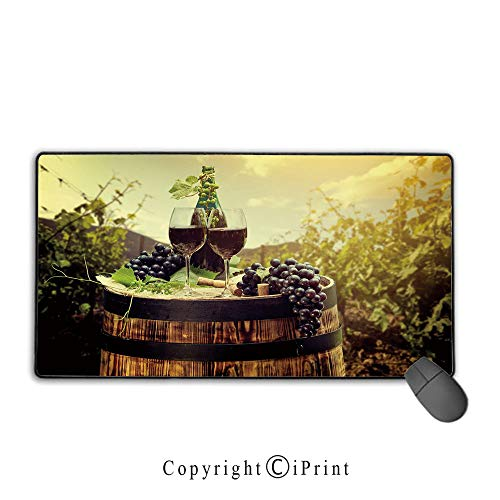 - Waterproof Mouse pad,Wine,Scenic Tuscany Landscape with Barrel Couple of Glasses and Ripe Grapes Growth Decorative,Green Black Brown, Non-Slip Rubber Base Mouse pad with Lock,15.8