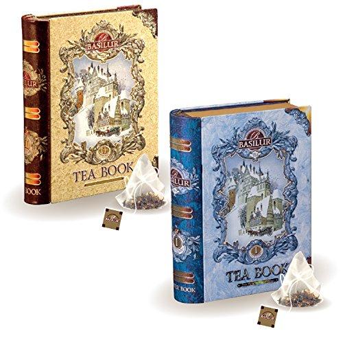 Basilur | Mini Tea Books Vol. 1 & 2 | Pyramid Tea Bags | 100% Pure Ceylon Tea | 5 Luxury Leaf Pyramid Sachets Per Tin | Holiday and Christmas Gifts | Pack of 2 - Holiday Gift Tin