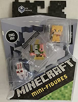 Minecraft Mini Figure 3-Pack - Alex with Gold Armor, Killer Rabbit, & Spawning Zombie Pigman
