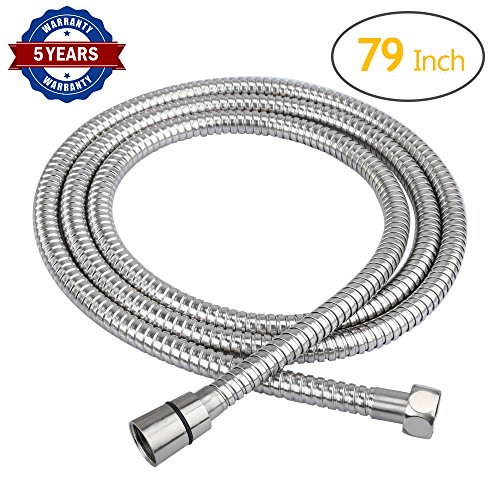 HOMEIDEAS 79-Inch Shower Hose Bathroom Stainless Steel Extra Long Shower Head Hose Toilet Handheld Showerhead Sprayer Extension Replacement Part,Polished Chrome by HOMEIDEAS