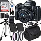 Canon EOS M50 Mirrorless Digital Camera with 15-45mm Lens Deluxe Bundle: Includes- SanDisk Ultra 64GB SDXC Memory Card + Extended Life Battery + 50' Tripod + 3pc Multi-Coated Filter Set + More