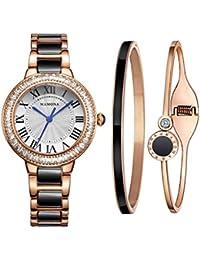 Women's Watch Bracelet Gift Set Crystal Accented Black Ceramic/Stainless Steel L68008BKGT