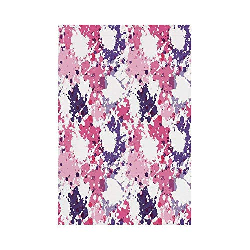 Polyester Garden Flag Outdoor Flag House Flag Banner,Art,Pattern with Paint Blobs Splashes Stained Dirty Look Watercolor Abstract Design,Pink Purple White,for Wedding Anniversary Home Outdoor Garden D