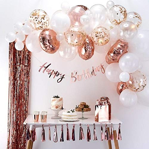 Balloon Arch & Garland Kit Pink, Blush, Rose Gold & White Sm-Xlrge Balloons, Glue Dots, 17inch Decorating Strip Wedding, Baby Shower, Graduation, Anniversary Bachelorette Party - Dot 17 Inch