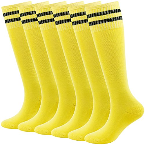 Fasoar Teens Football Soccer Rugby Sports Tube Socks Cotton Cushion Boot Socks 6 Pairs Yellow