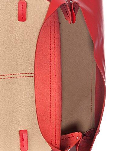 Laura Moretti - Bolso de piel auténtica con cierre magnético Rojo