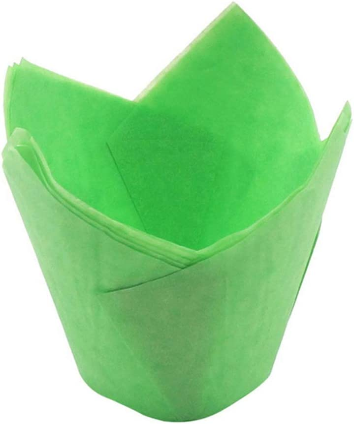 qhtongliuhewu 50 Pieces Mini Size Oil-Proof Tulip Cupcake Liners Muffin Paper Cases Baking Cups Tool White