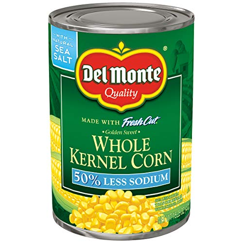 - Del Monte Canned Fresh Cut 50% Less Sodium Golden Sweet Whole Kernel Corn, 15.25-Ounce
