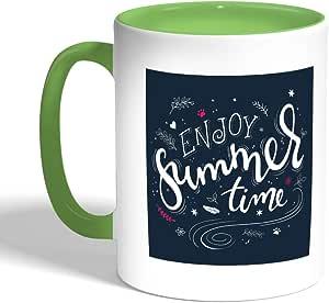 كوب سيراميك للقهوة، لون اخضر، enjoy summer time بطبعة