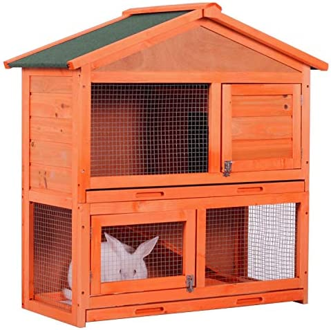 YSKWA Wooden Rabbit Hutch, Indoor and Outdoor Wood House Cage for Bunny Small Pets, Two Story Design