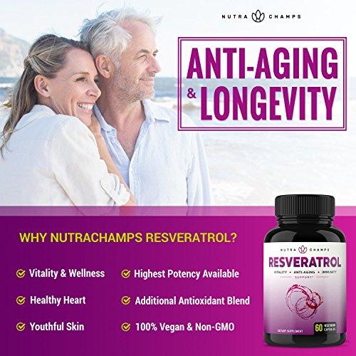 51D0fesNViL - Resveratrol Supplement 1200mg - Extra Strength Formula for Maximum Anti Aging, Immune & Heart Health - 60 Vegan Capsules with Trans-Resveratrol, Green Tea Leaf, Acai Berry & Grape Seed Extract