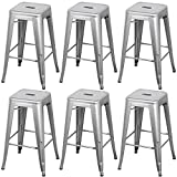 Cheap go2buy Furniture Metal Breakfast Bar Stool Seat Chair Industrial Vintage Classic Style Heavy Duty Kitchen (6pcs, Silver)
