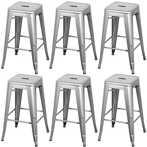 go2buy Furniture Metal Breakfast Bar Stool Seat Chair Industrial Vintage Classic Style Heavy Duty Kitchen (6pcs, Silver)