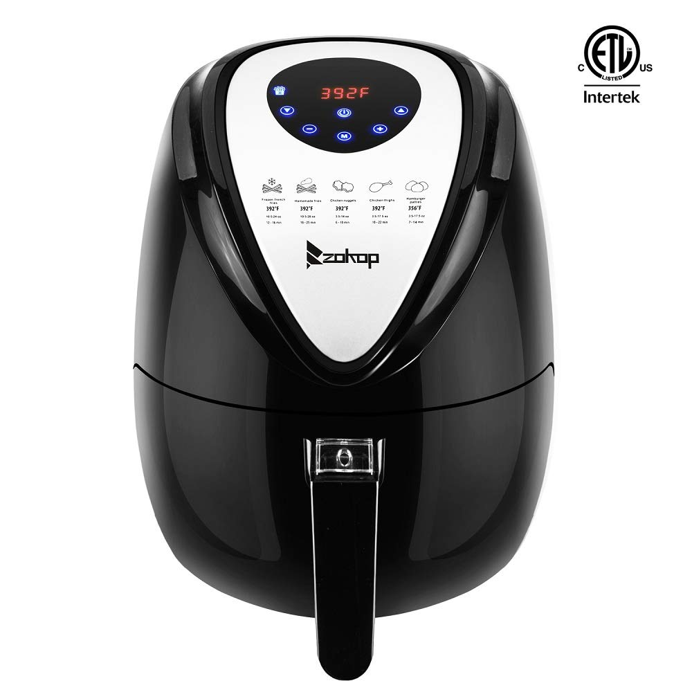 ROVSUN Electric Air Fryer,ETL Air Frying Technology with Temp and Time Control, Removable Dishwasher Safe Basket, Includes Metal Holder and Cooking Tongs, ETL Listed (3.7QT Digtial)