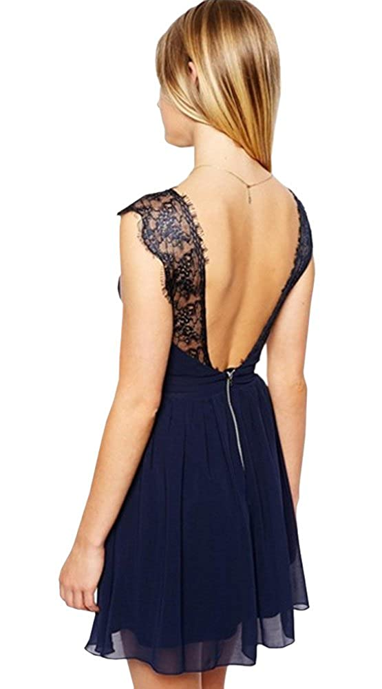 Women Chiffon Navy Blue V Neck Backless Lace Strap Party Short Dress at Amazon Womens Clothing store: