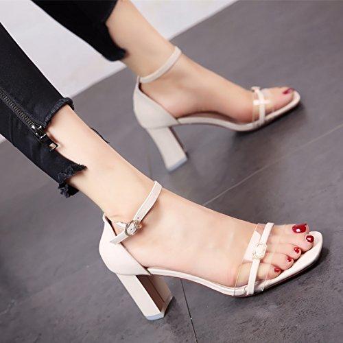 YMFIE Señoras Sandalias de Moda de Verano Temperamento Dedos Zona pelúcida cómodos Tacones y Tacones Altos. Rice white