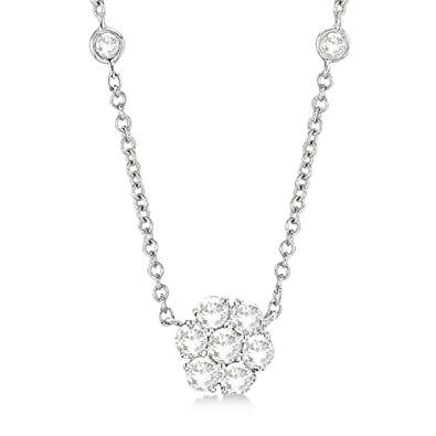 Amazon floral diamonds by the yard station necklace in 14k floral diamonds by the yard station necklace in 14k white gold with diamond flower pendant aloadofball Gallery