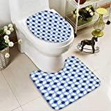 SOCOMIMI 2 Piece Toilet mat Set White Conceptual Cultural Nature Design Arabian Flower Decorations Light Blue White Apricot 2 Piece Shower Mat Set