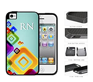 RN Registered Nurse With Teal Back And Colorful Squares iPhone 4 4s (2-piece) Dual Layer High Impact Cell Phone Case