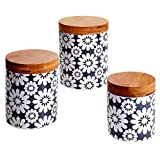 Certified International 3 Piece Chelsea Grey Floral Canister Set with Bamboo Lids, Multicolor