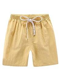 Moonker Children Kids Boys Girls Summer Linen Casual Shorts Fashion Comfort Elastic Waist Short Pants for 2-7T