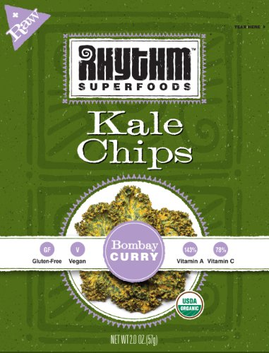 Rhythm Superfoods Bombay Curry Kale Chips, 12-Count, 2-Ounce Packs