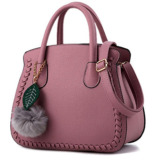 MSXUAN Fashion Leather PU Handbags Classic Shoulder Bag For Women (L004-DarkPink)