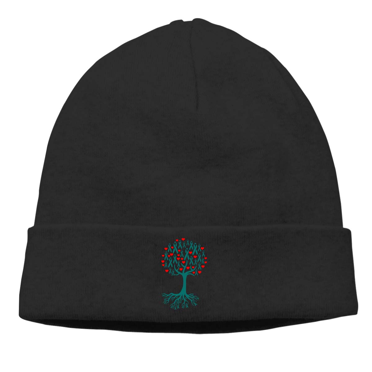 Thin Stretchy /& Soft Winter Cap Ovarian Cancer Awareness Tree Roots Men /& Women Solid Color Beanie Hat
