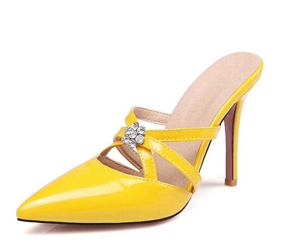 MYI Frauen Spitzschuh High-Heel Sandaletten Pfennigabsatz Kristall Schuhe Beige Beige Beige Schwarz Rosa Weiß Gelb Größe 34-39 33e358
