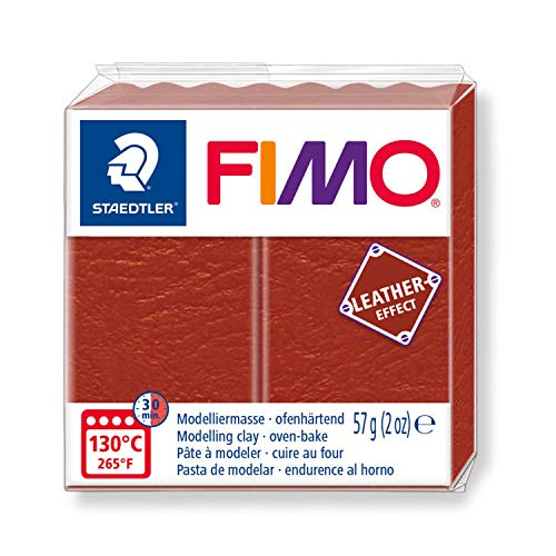STAEDTLER ST FIMO Leather-Effect Oven-Hardening Modelling Clay for Creative Objects Leather Look Leather-Like Look and Feel Rust Colour 8010-749