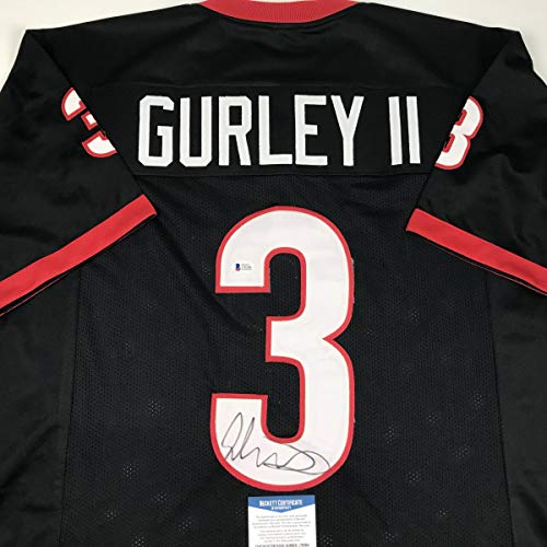 Autographed/Signed Todd Gurley Georgia Black College Football Jersey Beckett BAS COA