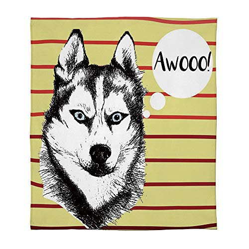 - YOLIYANA Ultra-Soft Flannel Blanket,Alaskan Malamute,for Bed Couch Chair,Size Throw/Twin/Queen/King,Portrait of Siberian Husky Hand Drawn Domestic