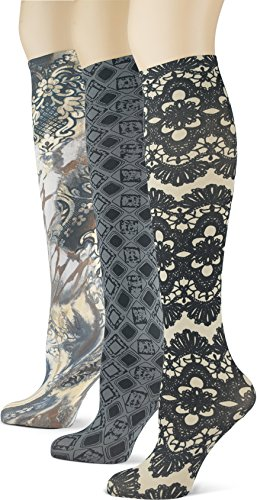 Knee High Trouser Socks w/Colorful Printed Patterns - Made in USA by Sox Trot (3 Nouveau Neutrals)