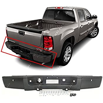 Amazon rear step bumper chrome wo hole 2007 2013 chevy mbi auto steel primered rear bumper for 2007 2008 2009 2010 2011 2012 2013 chevy silverado gmc sierra 1500 w park gm1103149 publicscrutiny